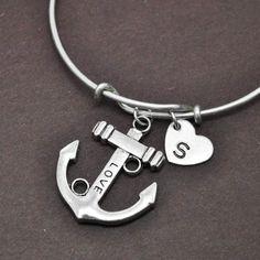 Anchor Bangle, Sterling Silver Bangle, Anchor Bracelet, Expandable Bangle, Personalized Bracelet, Charm Bangle, Initial Bracelet, Monogram by BangleLand on Etsy