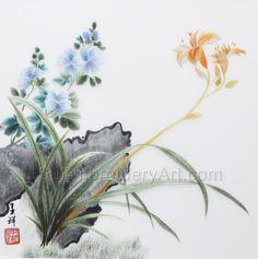 Hand Stitching, Peonies, Wreaths, Embroidery, Silk, Artwork, Flowers, Needlepoint, Work Of Art
