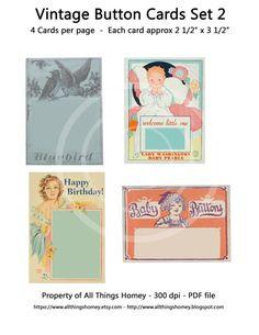 Digital download Printable Vintage Button Cards PDF by sssstudio, $2.75