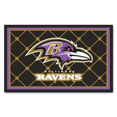 Ravens 4x6 Rug perfect for the Man Cave  http://backyardtailgator.com/collections/nfl-baltimore-ravens/products/4x6-rug-46-x-72-baltimore-ravens
