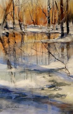 Evening Thaw By Sandra Strohschein Water. Evening Thaw By Sandra Strohschein Watercolor Painting Art Watercolor, Watercolor Landscape, Landscape Art, Landscape Paintings, Winter Landscape, Beautiful Paintings, Amazing Art, Cool Art, Art Drawings
