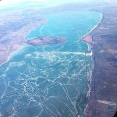 Lake Balaton in Hungary has developed a 10 km long ice crack/fault Central Europe, Budapest Hungary, Far Away, Holiday Travel, Beautiful World, Wonders Of The World, Adventure Time, Airplane View, Scenery