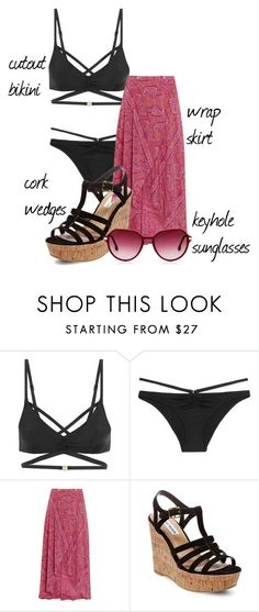 """""""Trending 9/4/2016"""" by lorelei-is-me ❤ liked on Polyvore featuring L'Agent By Agent Provocateur, ViX, Steve Madden, Wedges, bikini, sunglasses and wrapskirt"""