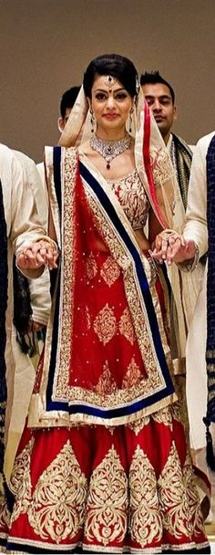 red and navy bridal lehenga, indian bride by imogene