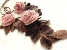 """Freeform crochet lariat scarf with flowers and leaves dust pink brown """"Dust…"""