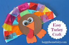 Tissue Paper Turkey Craft -- great fine motor practice. #thanksgiving #craft