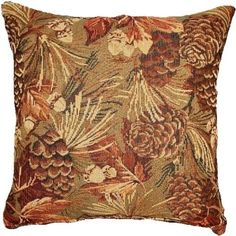 Pinecones 26 x 26 Decorative Pillow by Creative Home Furnishings from Kellsson Home Linens