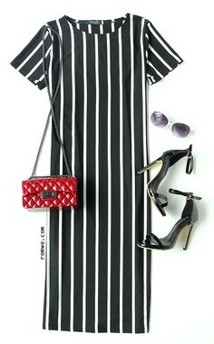 Office Lady - Vertical Striped Long Sheath Dress with red bag and black heels from rowme.com