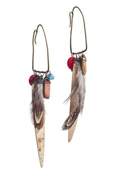 Fallen Feather Coconut Earrings $65.00
