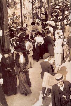 1908, London - outside Selfridges Dept. Store... ~ (vintage lady, edwardian era, vintage photo, fashion)