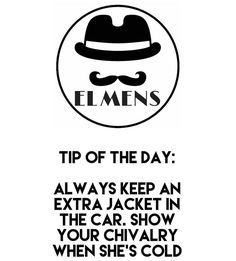 Tip of the day: Always keep an extra jacket in the car. Show her your chivalry when she's cold! . . #elmens #caironightlife #thisisegypt #quotes #quote #quotestoliveby #love #quotestags #nofilter #inspiration #quoteoftheday #life #quotesoftheday #quotestagram #words #funny #inspire #instaquote #motivation #quotesaboutlifequotesandsayings #smile #tweegram #word #writer #loveit #lovequotes #reading #readit #realtalk #tagsta