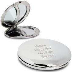Personalised Silver Finish Engraved Round Compact Mirror Gift Great Gift for Women Friends Girls Birthday Wedding Anniversary 40th Birthday Gifts For Women, Birthday Woman, Great Gifts For Women, Compact Mirror, Wedding Favours, Wedding Anniversary, Just In Case, Silver Plate, Fiftieth Birthday