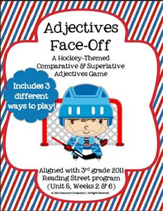 Adjectives Face-Off: Hockey-Themed Game for Grades 2-4 (3rd Grade Reading Street) Classroom Compulsion