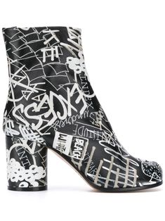 Maison Margiela Graphic Print Tabi Ankle Boots In Black On Shoes, Shoe Boots, Become A Fashion Designer, Graffiti Prints, Margiela, Custom Sneakers, Black Ankle Boots, Graphic Prints, World Of Fashion