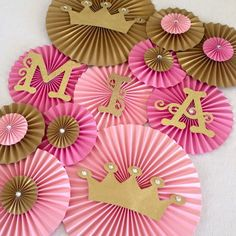 Princess Theme Paper Fans- Set of 13, Princess Party Backdrop, Princess Crown Decor, Royal Birthday, Pink and Gold Birthday