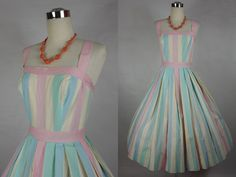 1950's Vintage Bernard's Cotton Candy Striped by vintagebluemoon, $275.00