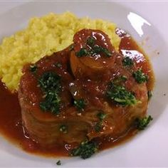 Recipe Picture:Traditional Osso Bucco Osso bucco is a delectable Italian dish of veal shanks simmered in a tomato sauce. It is usually topped with gremolata, which is parsley, lemon zest and garlic. Veal Recipes, Lamb Recipes, Cooking Recipes, Dishes Recipes, Oso Bucco Recipe, Italian Dishes, Italian Recipes, Veal Osso Bucco, Meat Recipes