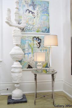 Julie Silvers turquoise paintings, large totem - with Fifi Laughlin Lamps, Kathy Slater table