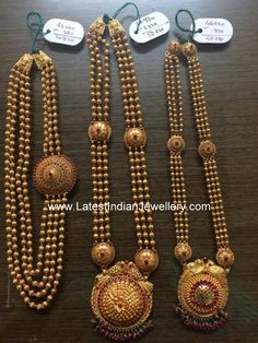 Gundla mala with weight. 4 line gold balls chandra haram design with large round gold mogapu, 3 stringed gold beaded long haram with temple style peacock pendant parsmani Gold Temple Jewellery, Gold Wedding Jewelry, Bridal Jewelry, Gold Jewelry, India Jewelry, Jewelry Sets, Gold Bangles Design, Gold Earrings Designs, Gold Jewellery Design