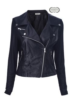 Black Different Material Stitching #Jacket #Romwe