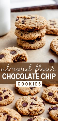 Almond flour chocolate chip cookies are easy to make and so delicious! These paleo chocolate chip cookies are also dairy free and naturally sweetened with coconut sugar and maple syrup. These easy almond flour cookies are crispy on the outside and soft in the middle. They're the best paleo chocolate chip cookies! Almond flour dessert recipes are naturally gluten free and a healthy alternative to regular flour. Add this to your almond flour recipes board! #simplyjillicious #cookies #paleo Paleo Cookie Recipe, Delicious Cookie Recipes, Best Gluten Free Recipes, Easy Baking Recipes, Gluten Free Treats, Flour Recipes, Easy Cake Recipes, Best Dessert Recipes, Paleo Dessert