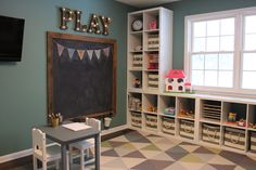 Kids Playroom Organization Ideas - Perfect for a home daycare or a toddler playroom Ikea Kallax Shelf, Ikea Kallax Regal, Kallax Shelving, Ikea Trofast, Ikea Shelves, Playroom Organization, Playroom Decor, Organization Ideas, Storage Ideas