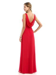 A-Line V-Neck Long Red Chiffon Bridesmaid Dresses 1806021