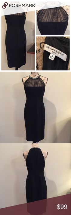 """Dressy EVAN PICONE Black Cocktail Dress EUC Stunning EVAN PICONE Black Cocktail Dress Excellent Pre-Owned Condition; Worn Once Beautiful Embellished Neck Detail, Black Mesh Décolletage, Fully Lined Fully Lined Perfect LBD Wardrobe Staple! Sexy, Yet Classy And Elegant  Size: 8 Measurements: Armpit To Armpit: 18.5"""" Length: 37"""" (From Back Of Neck) 7"""" Slit In Back Material: 100% Polyester Exclusive Of Decoration  Dry Clean Only Smoke Free Home Evan Picone Dresses Midi"""