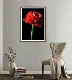 RED FLOWER PHOTOGRAPH~Floral Print On Black~Still Life Botanic Artwork~Romantic Bedroom Decor~Dark & Moody Wall Art~Anniversary Gift For Her Bedroom Decor Dark, Romantic Bedroom Decor, Red Wall Decor, Anniversary Gift For Her, Red Walls, Still Life Photography, Red Flowers, Printable Art, Art For Kids