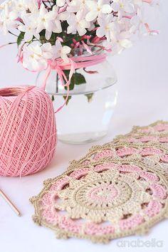 Pink crochet mandalas, vintage inspiration - PDF pattern