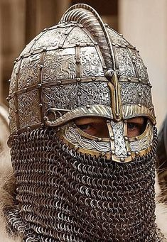 Engraved Anglo-Saxon/Viking Helmet (Photograph by Matt Bunker) Viking Armor, Ancient Armor, Viking Helmet, Arm Armor, Viking Age, Armadura Medieval, Fantasy Armor, Medieval Fantasy, Escudo Viking