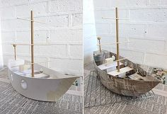 Cardboard toys: photo tutorial on how to make a toy pirate ship with free printable template for the hull
