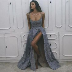 Prom Dress Princess, A-Line Scoop Sweep Train High Split Side Backless Grey Sleeveless Lace Prom Dress, Shop ball gown prom dresses and gowns and become a princess on prom night. prom ball gowns in every size, from juniors to plus size. Prom Dresses 2017, A Line Prom Dresses, Dress Prom, Prom Gowns, Party Dress, Long Dresses, Dress Formal, Formal Prom, Wedding Dresses