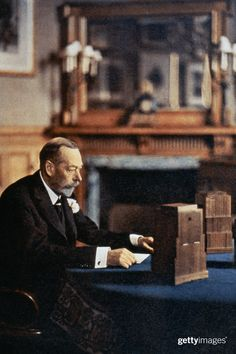 King George V of Great Britain preparing to give a radio broadcast from a room at Sandringham House, circa Get premium, high resolution news photos at Getty Images Uk History, British History, Family History, Queen Mary, King Queen, King George Iv, Royal Christmas, Royal King, House Of Windsor