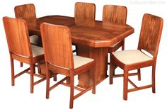 Art Deco Dining Table And 6 Chairs - Antiques Atlas Table And Chairs, Dining Chairs, Dining Suites, Antique Dining Tables, Art Deco Furniture, Art Deco Design, Antiques, Home Decor, Antiquities