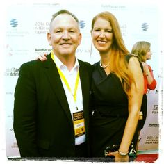 Producer of WORDS AND PICTURES Gary Cogill and his lovely wife Hayley #DIFF2014 #redcarpet