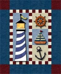 Lighthouse Wall Hanging | Are you a lighthouse lover? And you don't want to sew something overly complicated?  Try a little wallhaging like this one! Balance the lighthouse with three nautical blocks and you will have one cute little quilt.