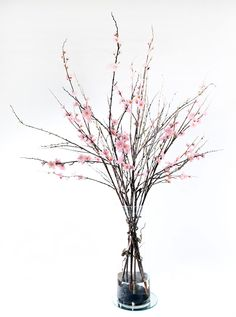 How to use acrylic water in your silk flower arrangements silk realistic life like pink cherry blossom with sticks flower arrangement in artificial water glass mightylinksfo Gallery