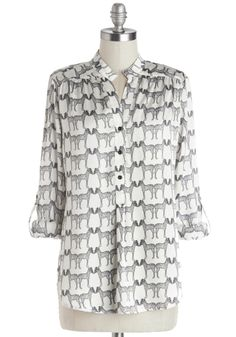 Long Walk on the Wild Side Top. Why not strut the length of Manhattan in this printed top? #white #modcloth