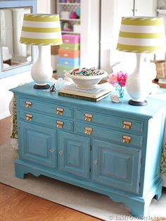 Furniture looking a little worn and torn? Try adding a fresh coat of brightly colored paint to give your old furniture new life.