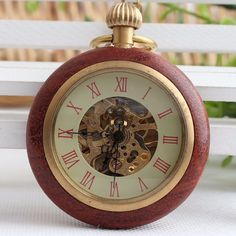 Wood Ring Pocket Watch For Men (Mechanical, With Watch Chain)