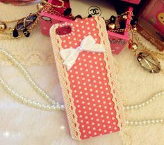 Cute Vintage White Bow Pink Polka Dot Pattern Fabric by EverMagic, $19.99