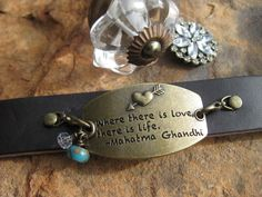 Leather Cuff bracelet interchangeable charms Where by fleurdesignz