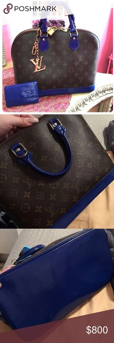 Louis Vuitton Monogram Alma PM  A 100% authentic Louis Vuitton Alma. Has been painted with a special leather paint twice plus a protective coat on the handles and bottom for preservation of the bag. Gorgeous bag. Only flaw is inside, there is a stain that I haven't been able to take off. TV $1000 Louis Vuitton Bags Satchels