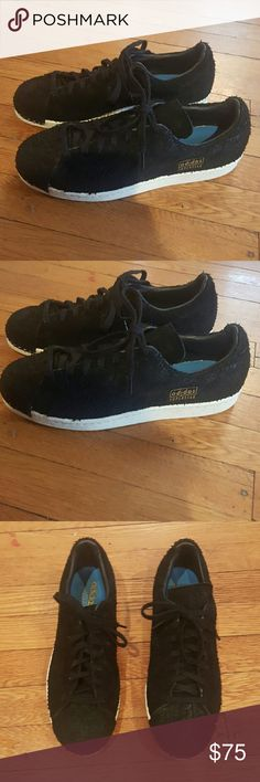 MENS SUEDED CROC ADIDAS SUPERSTAR STAN SMITH Adidas Mens Size 9 Black stan smoth superstar Sneakers Hardly worn adidas Shoes Sneakers