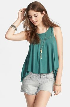 Free People 'Free Falling' Braided Trim Ruffle Tank available at #Nordstrom