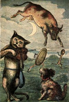 Hey diddle diddle, The cat and the fiddle, The cow jumped over the moon, The little dog laughed To see the sport, While the dish ran after the spoon. Hey Diddle Diddle, Nursery Book, Nursery Rhymes, Art And Illustration, Book Illustrations, Vintage Cat, Little Dogs, Vintage Posters, Childrens Books