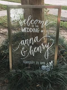 Float frame wedding sign wedding entrance Custom float frame wedding sign (Medium/Large) - welcome, bar menu, memory table, cake table, program Wedding Window, Wedding Mirror, Wedding Frames, Wedding Entrance, Cricut Wedding, Diy Wedding, Rustic Wedding, Dream Wedding, Table Wedding
