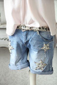 WOW YOUR&SELF Jeans SHORTS Destroyed Vintage Wash Perlen STARS Sterne 36 S neu | eBay