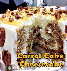 Carrot Cake Cheesecake. Wow! #cheesecake #cake #carrot #dessert